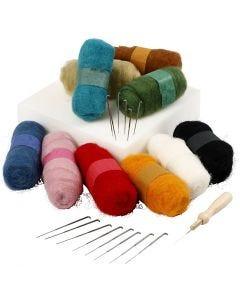 Nadelfilzen, Anfänger-Set , Sortierte Farben, 1 Set
