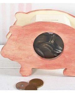 Sparschwein aus gebeiztem Holz