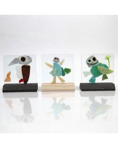Mosaik-Glasplatten verziert mit Glas- und Porzellanmalstiften