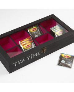 Teebeutelbehälter aus Holz mit Glasdeckel