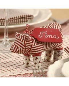 Pappmaché-Weihnachts-Schwein mit Decoupage