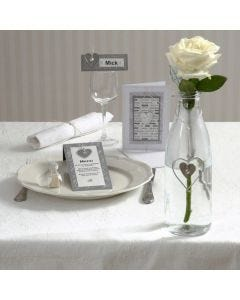 Einladung, Menü- und Tischkarte mit Herzen aus Zink