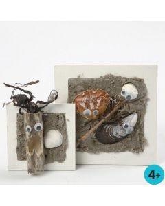 Collage-Rahmen mit Strandmotiv aus Klebelack und Sand