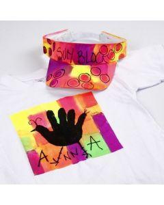Neon-Textil Color Stoffmalfarbe auf T-Shirt und Schirmkappe
