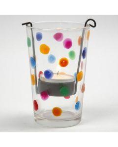 Ein Teelichthalter mit bunten Punkten