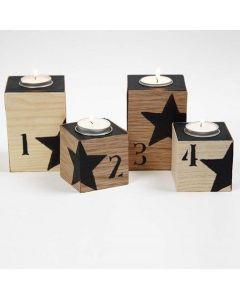 Teelichthalter mit Holzfurnier, schwarzen Zahlen und Sternen
