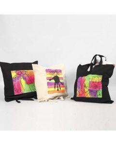 Einkaufstaschen, verziert mit Textile Color neon