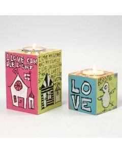 Teelichthalter aus MDF, verziert mit Uni Posca Markern