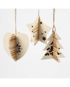 Weihnachtliche Dekoration aus Holzfurnier und 3D-Anhängern