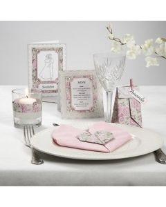 Kartenserie mit rosa Pearl Karton und Strasssteinen