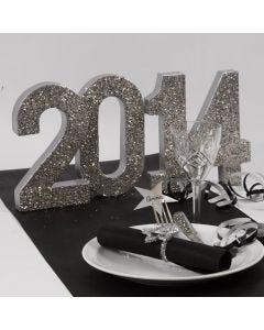 Silber glitzernde Dekoration für den Neujahrstisch