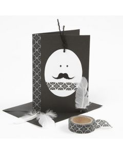 Ostergrußkarten in s/w mit Eierkopf und Masking Tape