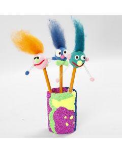 Bleistifte mit lustigem Kopf aus Silk Clay