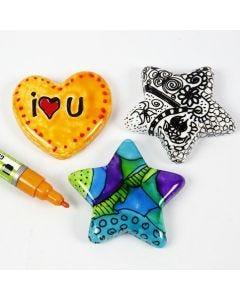 Gegenstände aus Porzellan, verziert mit Glas- und Porzellan-Markern