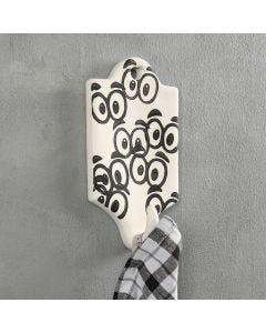 Ein Haken mit Zierplatte in schwarzem Design