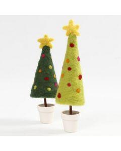 Weihnachtsbäume mit Stern aus Nadelfilz, montiert auf einem Blumentopf als Ständer