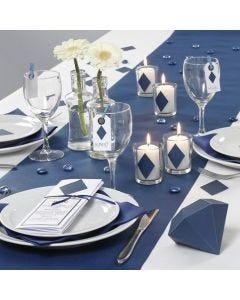 Happy Moments: blaue Tischdekoration und Menükarte