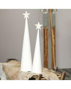 Weihnachtsbaum aus einem weiß bemalten Kegel mit Glitzer-Stern
