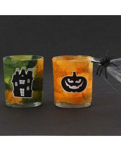 Teelichthalter mit Strohseidenpapier und Halloween-Stickern