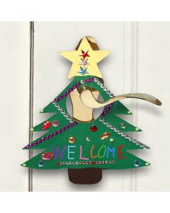 Ein bemaltes und verziertes Schild für Weihnachten