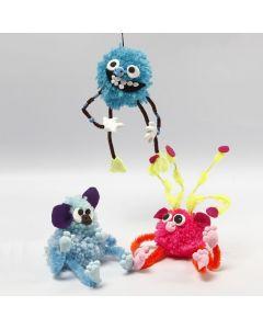 Fantasie-Tiere aus Pompons, Pfeifenreinigern, Perlen und Silk Clay