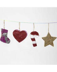Hängender Weihnachtsschmuck aus Pappmaché mit Glitzer