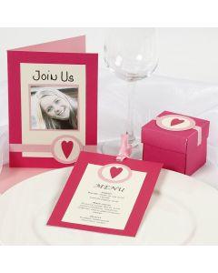 Einladung und Tischdekoration in Pink und Rosa
