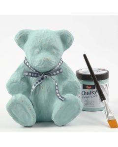 Teddybär aus Pappmaché, bemalt mit Chalky Vintage Look Farbe