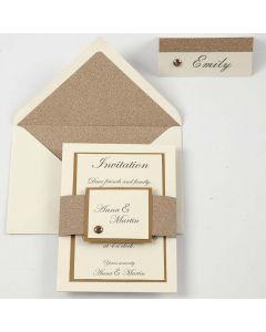Einladung, Menü- und Tischkarte in Kupfer und Off-White
