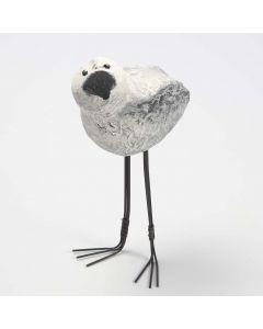 Langbeiniger Styropor-Vogel, geformt aus Pappmaché-Brei