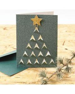 Weihnachtskarte mit Weihnachtsbaum als Grafik-Design mit Klappeffekt