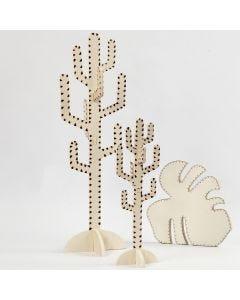 Kaktus und Blatt, kreativ gestaltet mit einem Brennmalstift