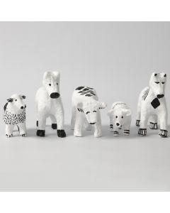 Tiere aus Pappmaché, verziert mit grafischen Mustern