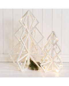 3D-Weihnachtsbaum aus Holz, dekoriert mit Kugeln, Lichterketten etc.