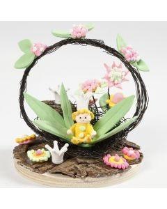 Mini-Szene mit Fee und Blumen