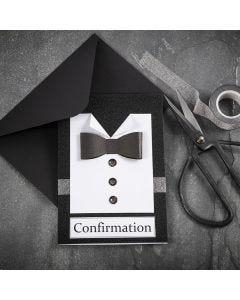 Einladung in Schwarz/Weiß in Form eines Hemdes mit Fliege aus Strukturpapier und Knöpfen aus Strasssteinen