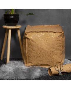 Sitzwürfel aus Kunstlederpapier, gefüllt mit Styroporkugeln