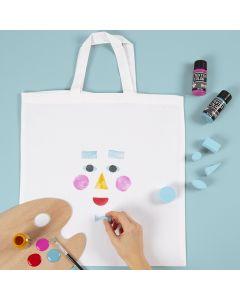 Einkaufstasche, verziert mit aufgestempeltem Gesicht