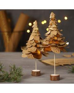 Weihnachtsbäume aus gestanztem Kunstlederpapier