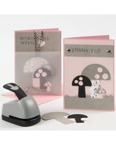 Grußkarten, verziert mit ausgestanzten Pilzen aus Kunstlederpapier