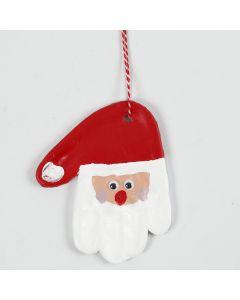 Nikolaus-Figur von einem Handabdruck aus selbsthärtendem Gips