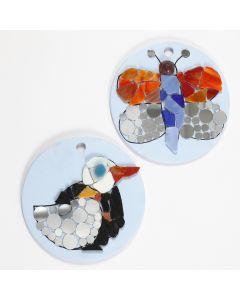 Mosaik-Design auf runden Terracotta-Platten