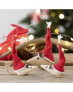 Gehäkelte Mini-Wichtelhüte für Holzmäuse