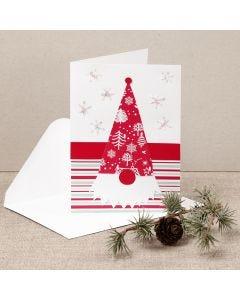 Weihnachtskarte, die ein Wichtel aus Design-Papier mit roter Nase ziert