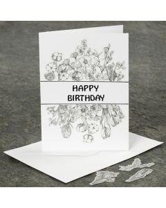 Geburtstagskarte, verziert mit selbstklebenden Washi-Blumenmotiven