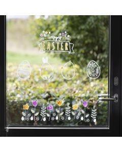 Osterfenster, dekoriert mit Kreide-Markern