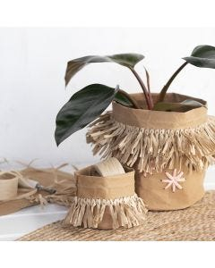 Faux leather paper storage bags with paper raffia tassels