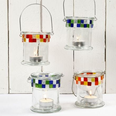 Glaslaternen mit Mosaikrand