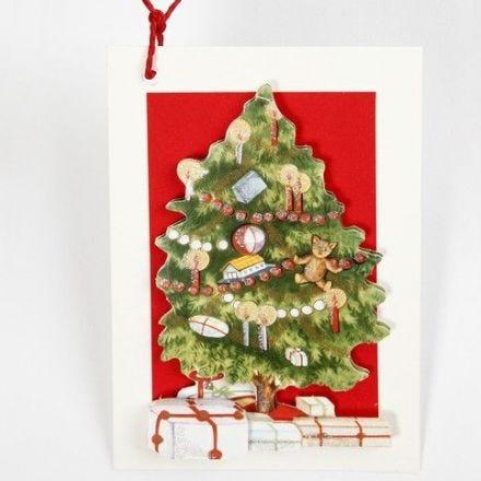 3D Grußkarte mit Weihnachtsbaum