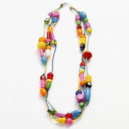 Halskette mit Holz- und Glasperlen